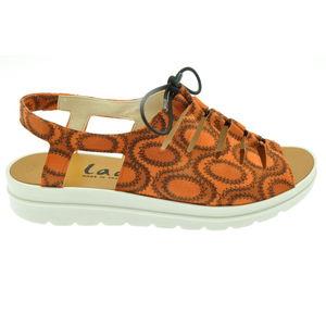 Acheter Elena sandale en cuir réglable avec un lacet élastique orange au meilleur prix