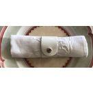 Rond de serviette en cuir RD vernis blanc